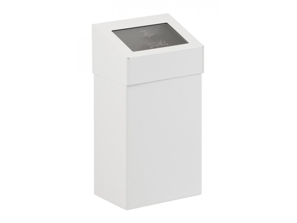 Afvalbak met pushklep 18 liter wit