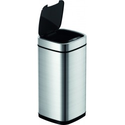 Afvalbak EKO Touch Deksel Mat RVS / Zwart | 50 liter