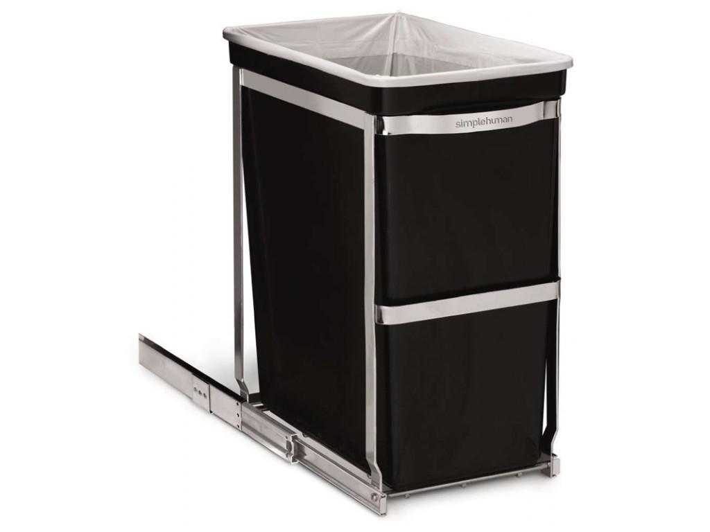 Simplehuman afvalbak Pull-out Bin 30 liter chroom zwart