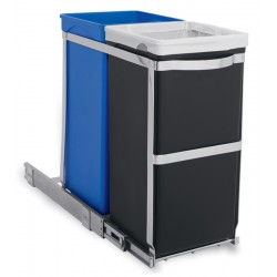 Simplehuman afvalbak Pull-out Recycler chrome zwart blauw