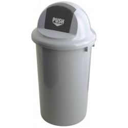Kunststof afvalbak met kapdeksel 47 liter grijs