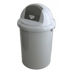 Kunststof afvalbak met kapdeksel 90 liter grijs