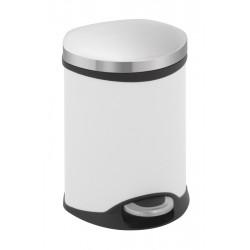 Eko pedaalemmer Shell Bin 6 liter wit, mat RVS