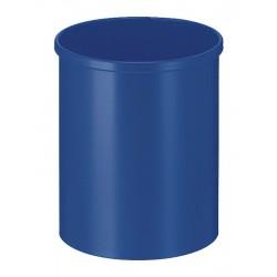 Metalen papierbak rond 15 liter blauw