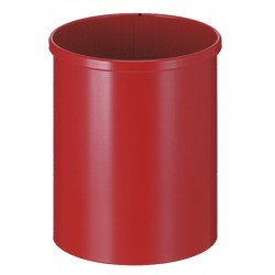 Metalen papierbak rond 15 liter rood