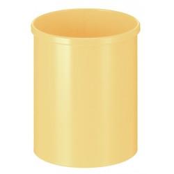 Metalen papierbak rond 15 liter geel