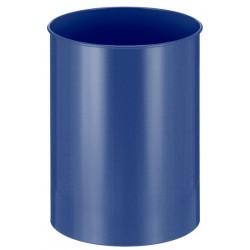 Metalen papierbak rond 30 liter blauw