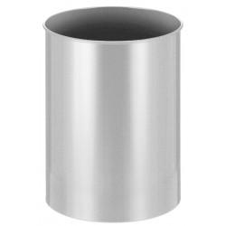 Metalen papierbak rond 30 liter zilver