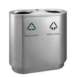 Indoor recycling afvalbak 82 liter mat RVS