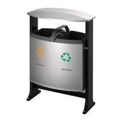 Buitenafvalbak afvalscheiding 87 liter (2 x 39 liter) aluminiumgrijs, zwart