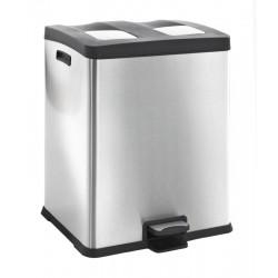 Eko pedaalemmer Rejoice Recycling 2 x 30 liter mat RVS