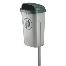Vuurbestendige buitenafvalbak grijs, groen 50 liter