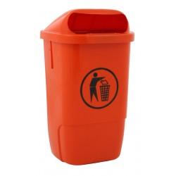 Kunststof buitenafvalbak 50 liter oranje