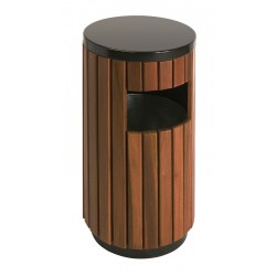 Buitenafvalbak 33 liter zwart, houtlook