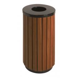 Buitenafvalbak 40 liter zwart, houtlook
