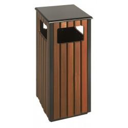 Buitenafvalbak 36 liter zwart, houtlook