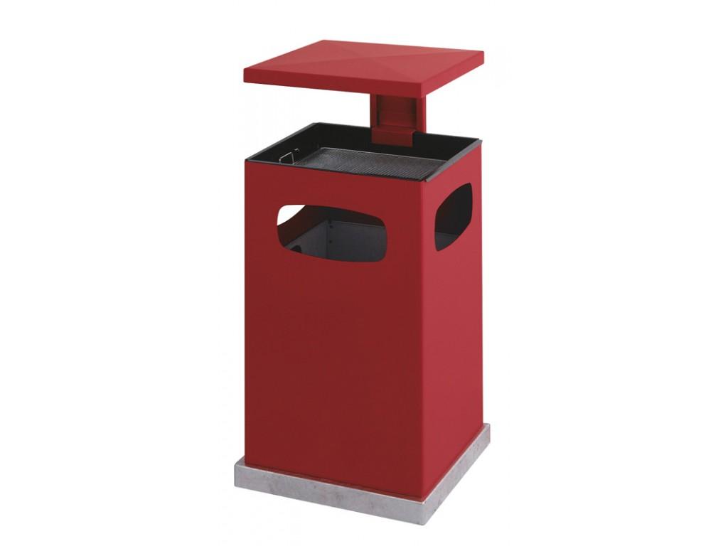 As-papierbak met afneembaar dak 80 liter rood